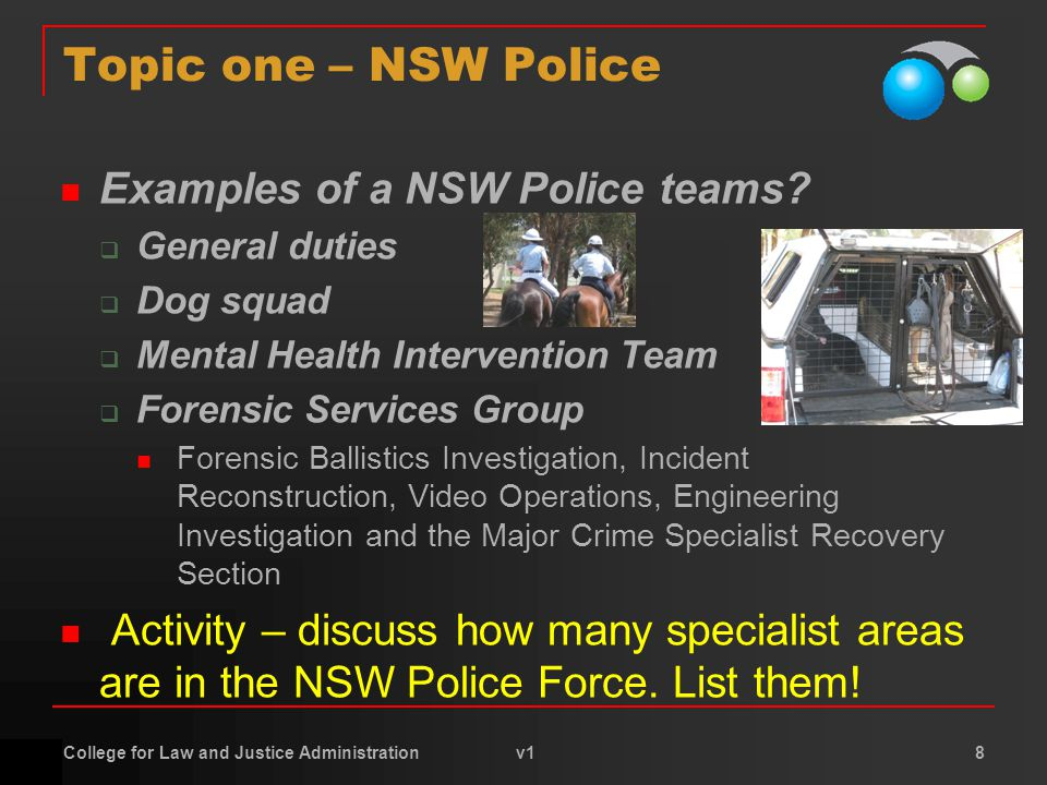 College for Law and Justice Administration v1 8 Topic one – NSW Police Examples of a NSW Police teams.