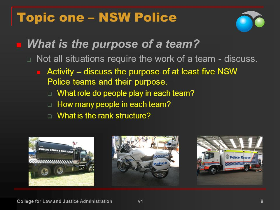 College for Law and Justice Administration v1 9 Topic one – NSW Police What is the purpose of a team.