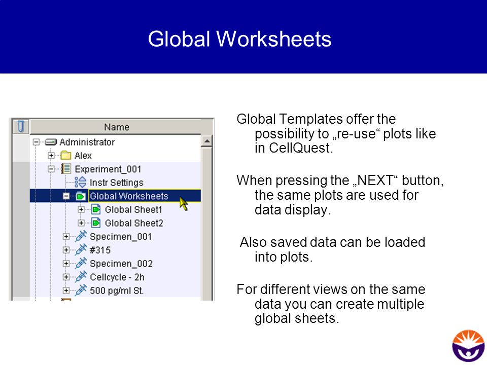 """Global Worksheets Global Templates offer the possibility to """"re-use"""" plots like in CellQuest. When pressing the """"NEXT"""" button, the same plots are used"""