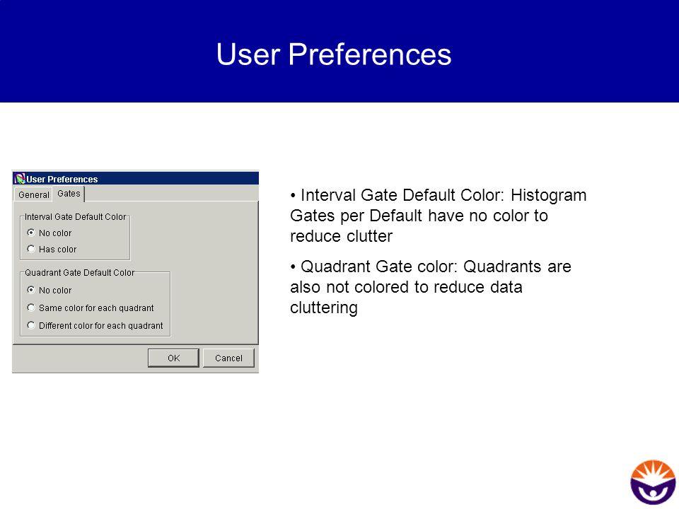 User Preferences Interval Gate Default Color: Histogram Gates per Default have no color to reduce clutter Quadrant Gate color: Quadrants are also not