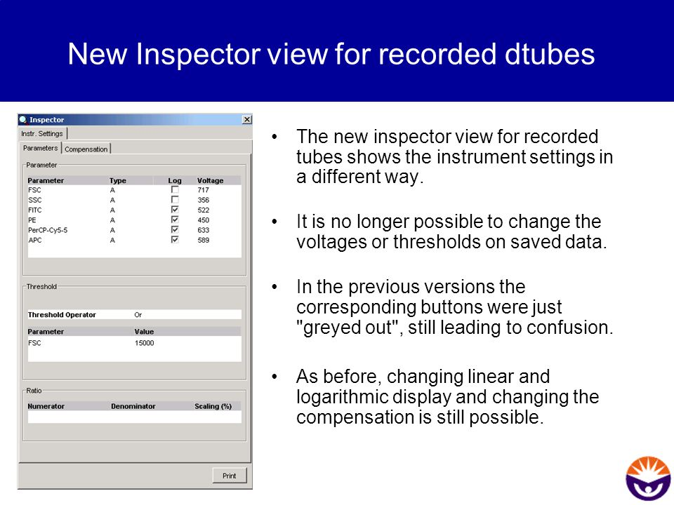 New Inspector view for recorded dtubes The new inspector view for recorded tubes shows the instrument settings in a different way. It is no longer pos