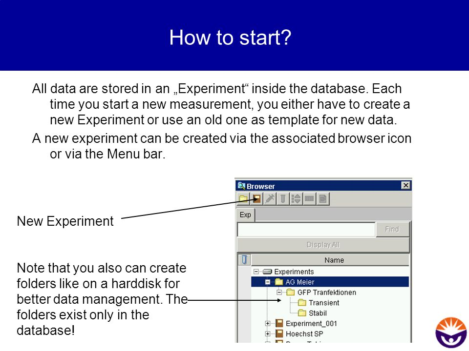 """How to start? All data are stored in an """"Experiment"""" inside the database. Each time you start a new measurement, you either have to create a new Exper"""