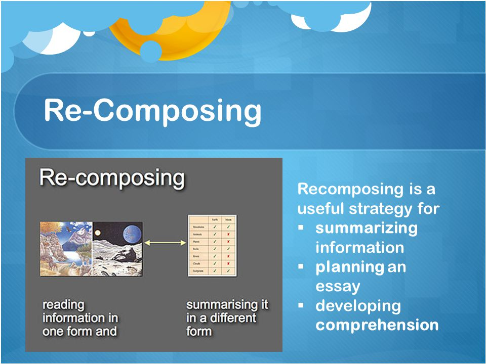 Re-composing avoids copying Need to demonstrate to children – when we read information we often make notes to assist with understanding and recall Notes –not always written as words or sentences Notes – can be as diagrams, maps, timelines, flow charts etc.