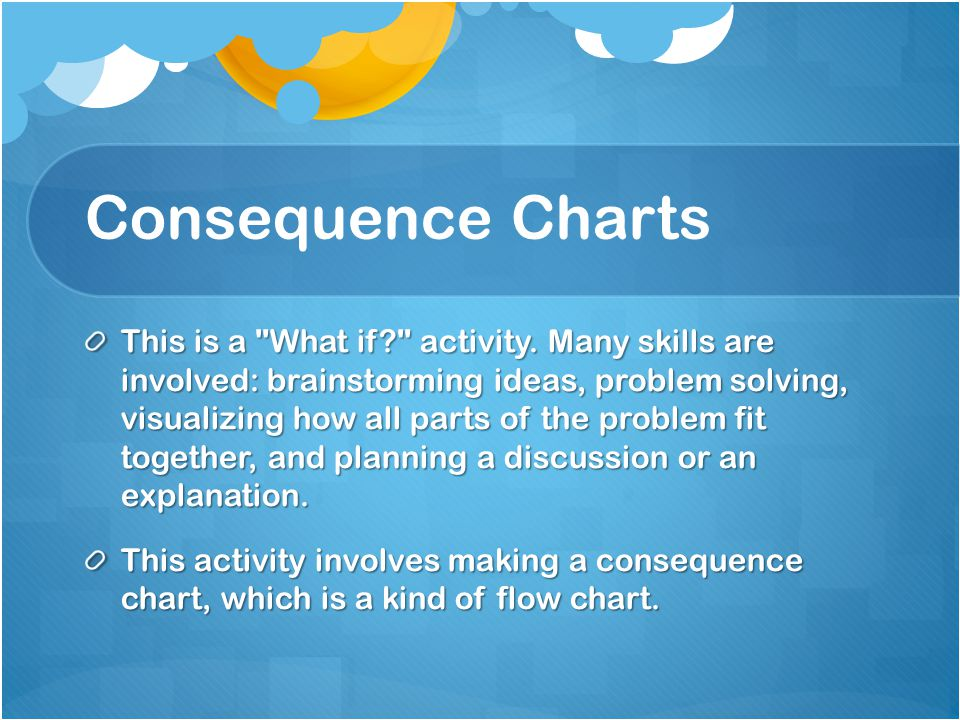 Organise students to work in pairs, each pair with a separate sheet, adding as many possible consequences as they can.