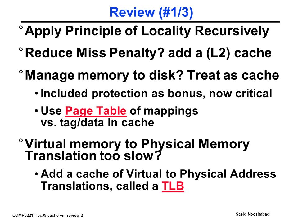COMP3221 lec39-cache-vm-review.13 Saeid Nooshabadi Paging/Virtual Memory Review User B: Virtual Memory  Code Static Heap Stack 0 Code Static Heap Stack A Page Table B Page Table User A: Virtual Memory  0 0 Physical Memory 64 MB TLB