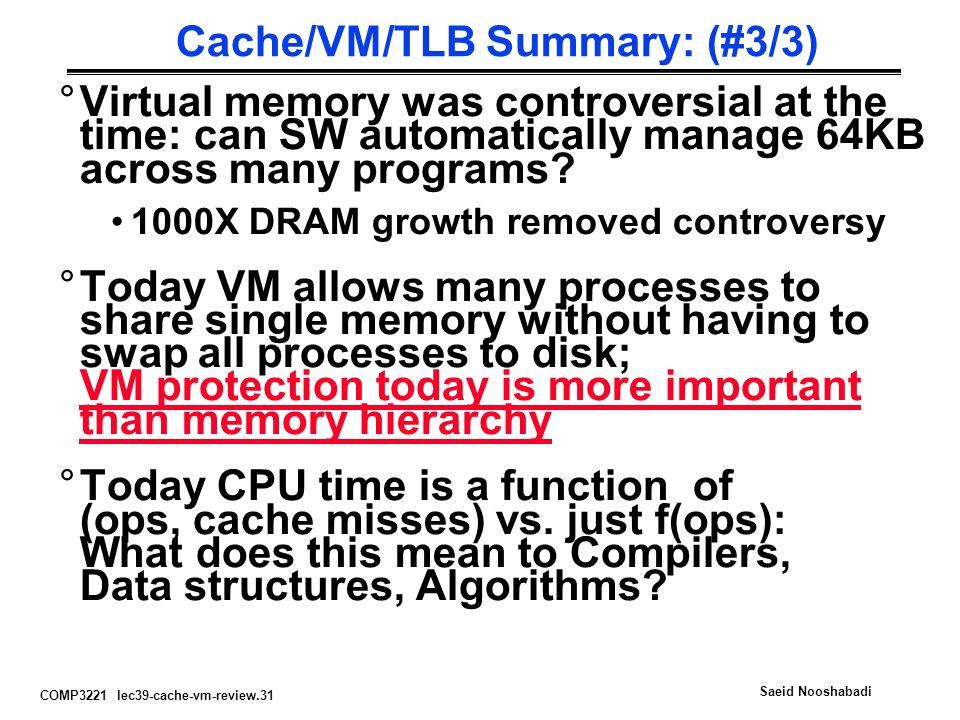 COMP3221 lec39-cache-vm-review.31 Saeid Nooshabadi Cache/VM/TLB Summary: (#3/3) °Virtual memory was controversial at the time: can SW automatically ma