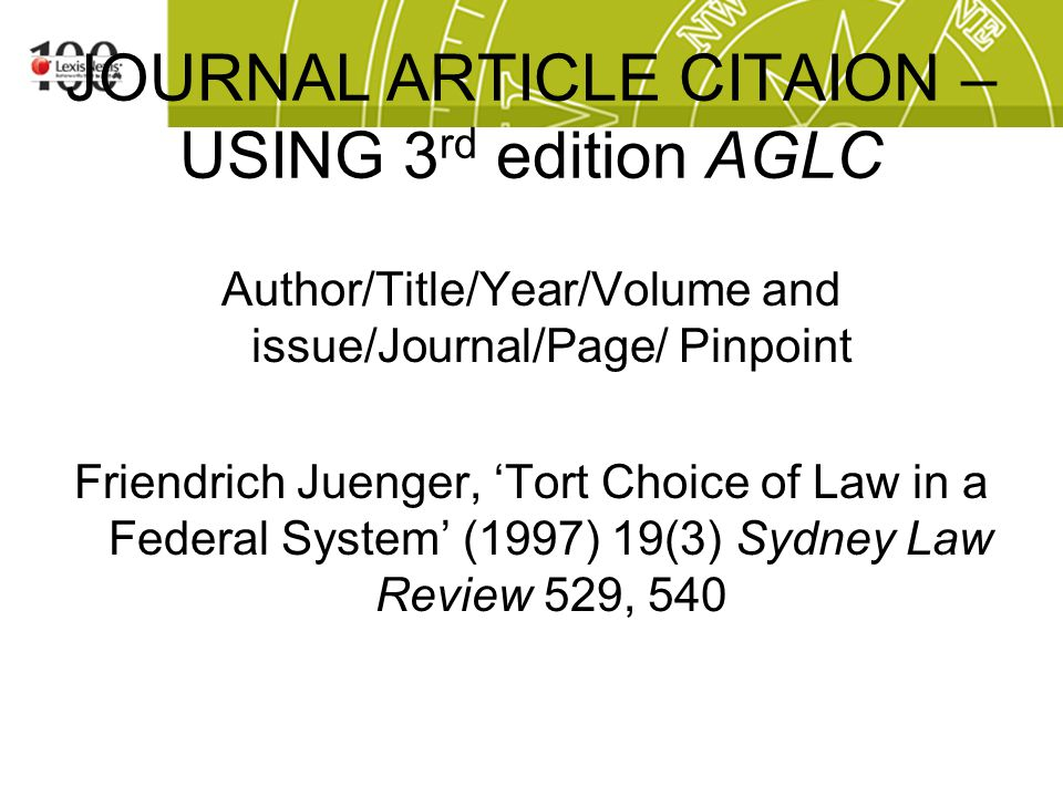 Journal Article citation – Exercise 3 Is this citation correct.