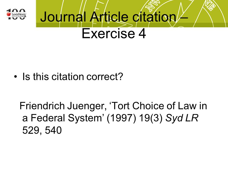 Journal Article citation – Exercise 4 Is this citation correct.