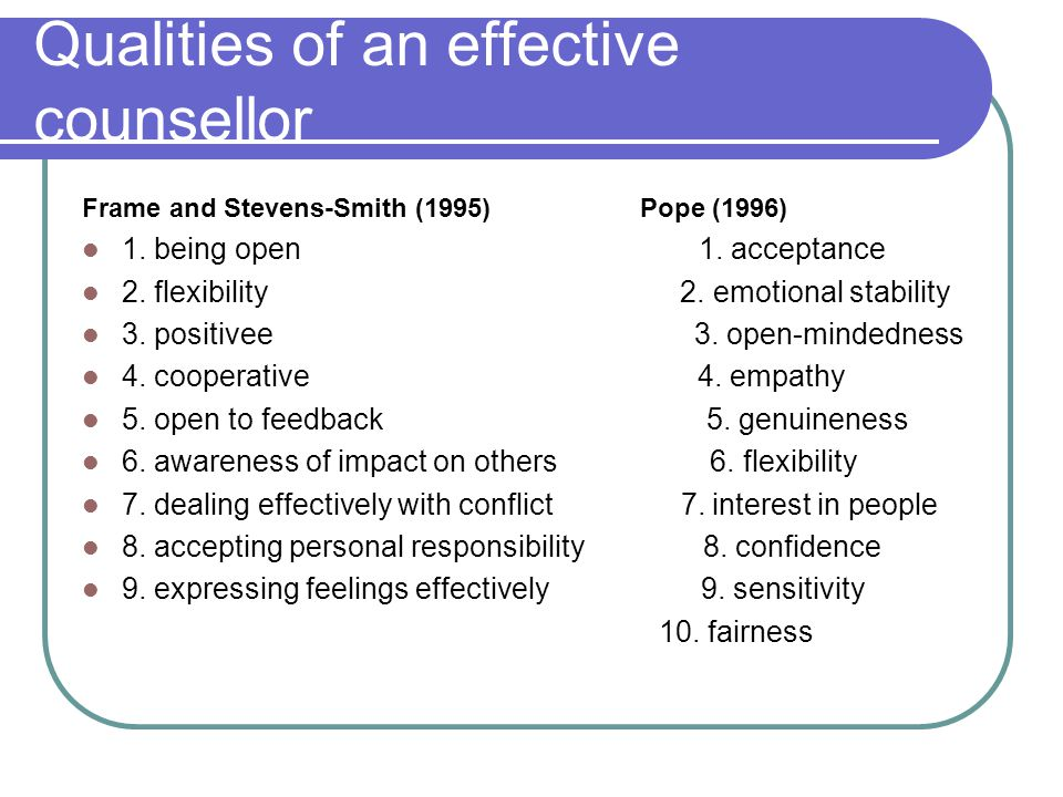 Qualities of an effective counsellor Frame and Stevens-Smith (1995) Pope (1996) 1.