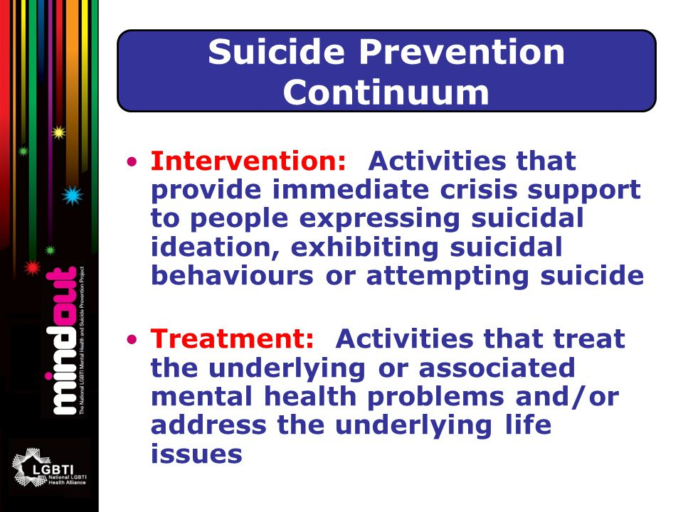 Intervention: Activities that provide immediate crisis support to people expressing suicidal ideation, exhibiting suicidal behaviours or attempting suicide Treatment: Activities that treat the underlying or associated mental health problems and/or address the underlying life issues Suicide Prevention Continuum