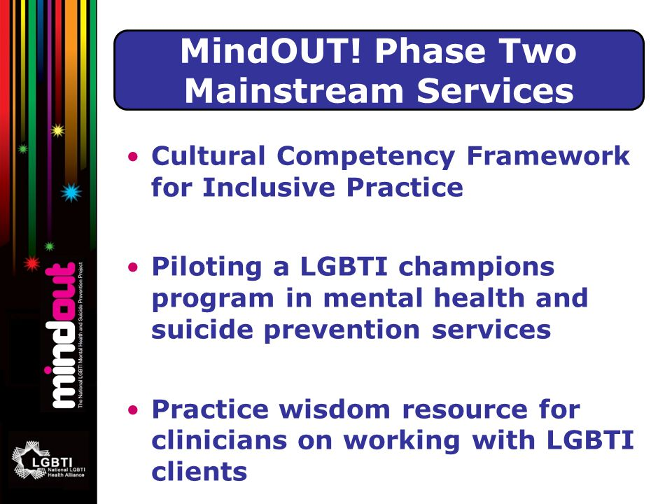 Cultural Competency Framework for Inclusive Practice Piloting a LGBTI champions program in mental health and suicide prevention services Practice wisdom resource for clinicians on working with LGBTI clients MindOUT.