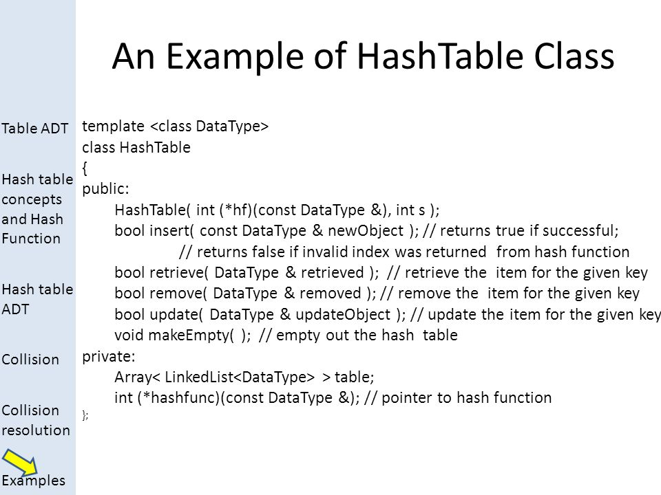 Table ADT Hash table concepts and Hash Function Hash table ADT Collision Collision resolution Examples An Example of HashTable Class template class Ha