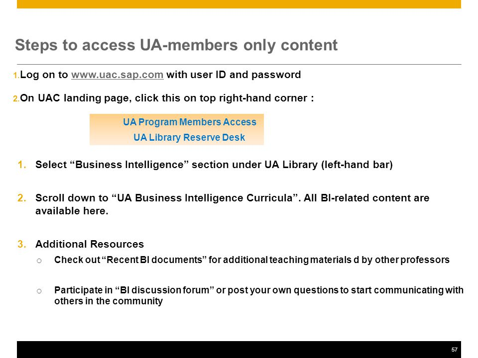 57 Steps to access UA-members only content 1.