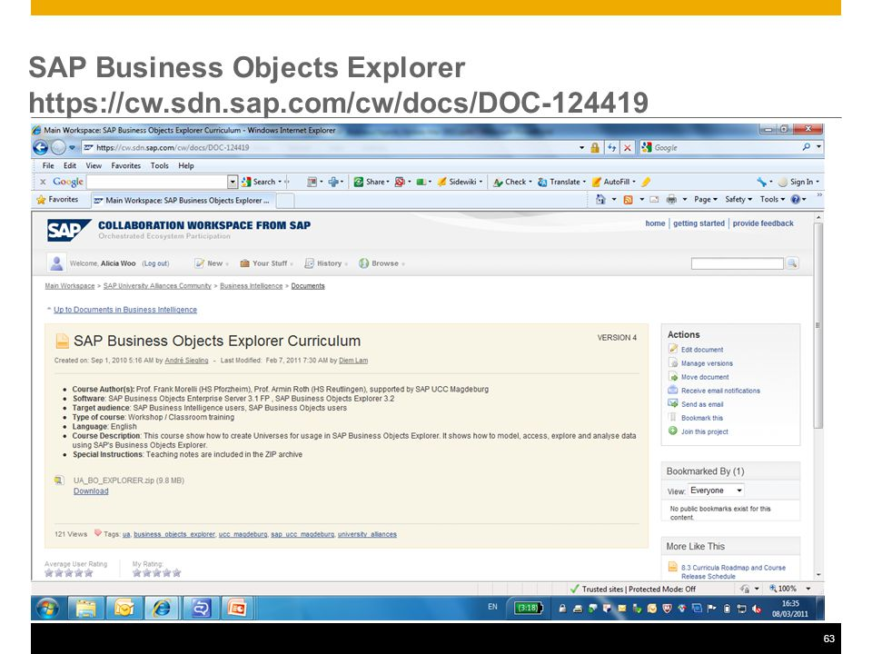 63 SAP Business Objects Explorer https://cw.sdn.sap.com/cw/docs/DOC-124419