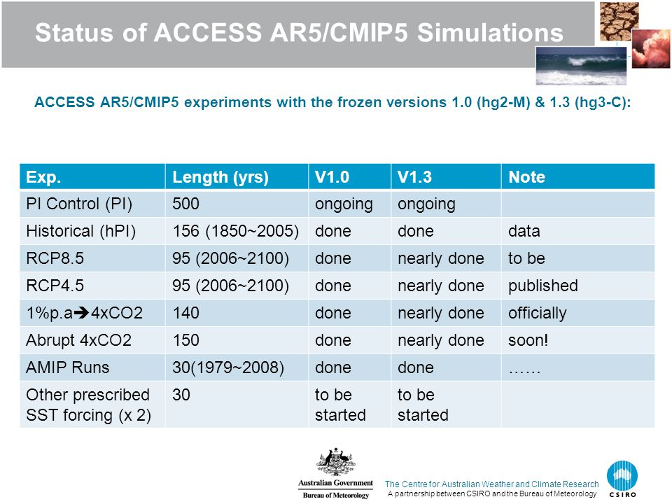 Status of ACCESS AR5/CMIP5 Simulations ACCESS AR5/CMIP5 experiments with the frozen versions 1.0 (hg2-M) & 1.3 (hg3-C): The Centre for Australian Weather and Climate Research A partnership between CSIRO and the Bureau of Meteorology Exp.Length (yrs)V1.0V1.3Note PI Control (PI)500ongoing Historical (hPI)156 (1850~2005)done data RCP8.595 (2006~2100)donenearly doneto be RCP4.595 (2006~2100)donenearly donepublished 1%p.a  4xCO2140donenearly doneofficially Abrupt 4xCO2150donenearly donesoon.