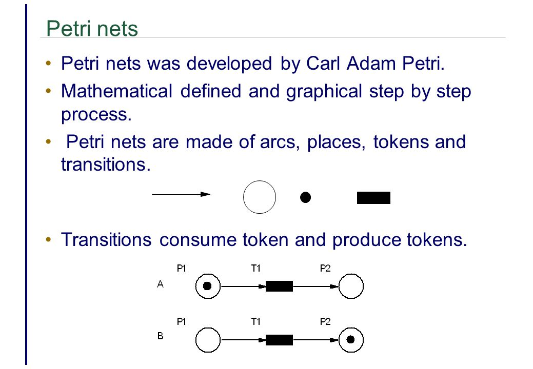 Petri nets Petri nets was developed by Carl Adam Petri.