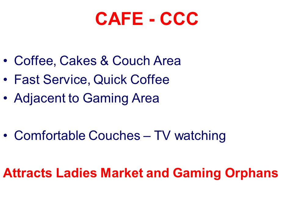 CAFE - CCC Coffee, Cakes & Couch Area Fast Service, Quick Coffee Adjacent to Gaming Area Comfortable Couches – TV watching Attracts Ladies Market and Gaming Orphans