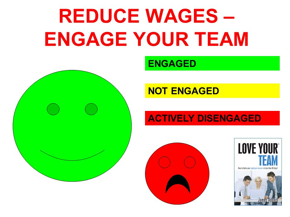 REDUCE WAGES – ENGAGE YOUR TEAM ENGAGED NOT ENGAGED ACTIVELY DISENGAGED