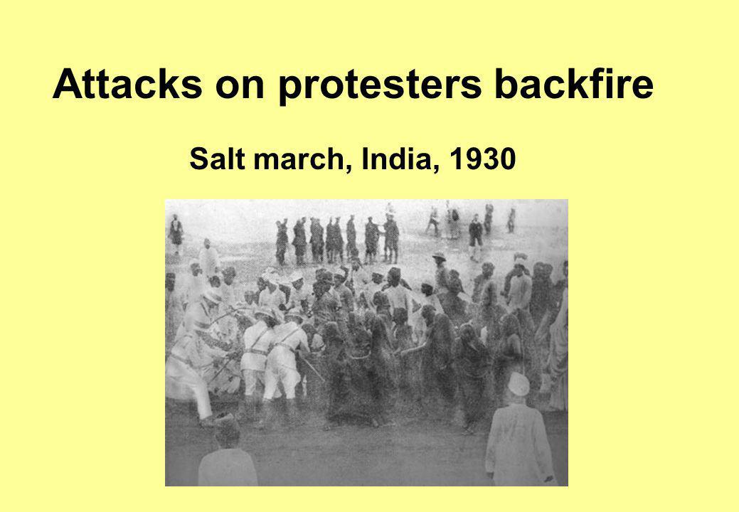 Attacks on protesters backfire Salt march, India, 1930