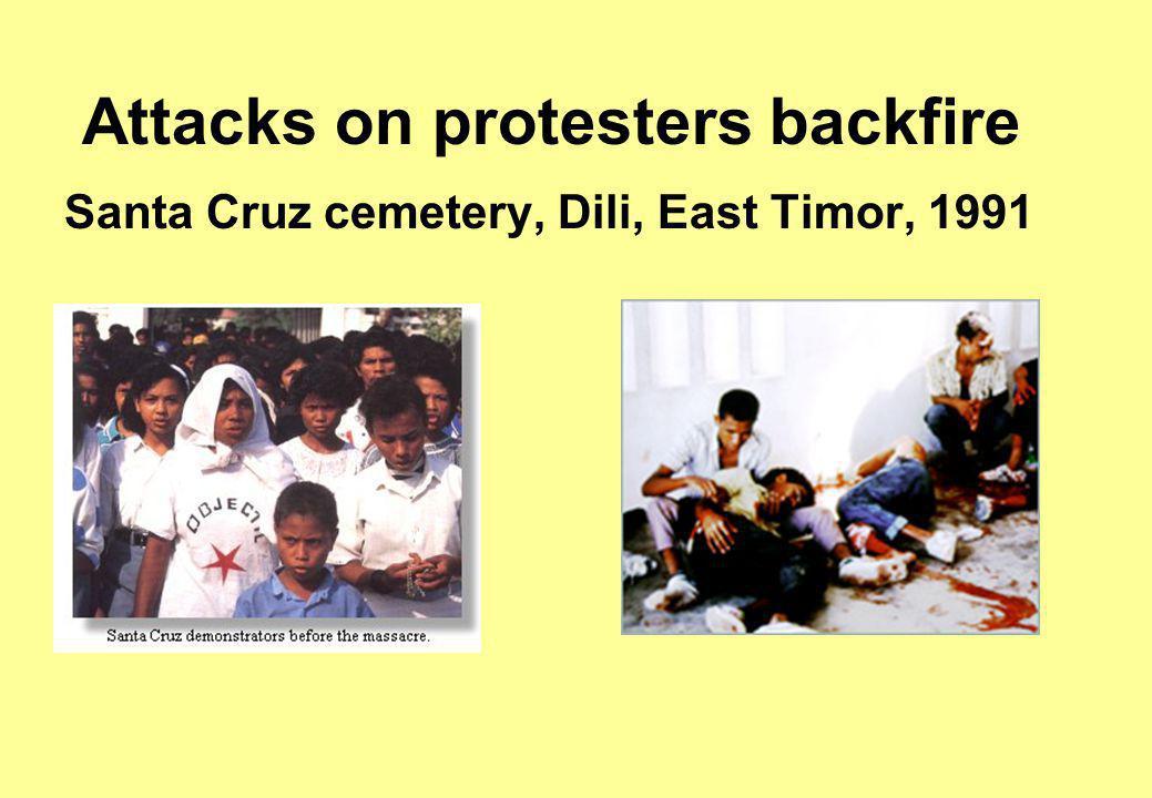 Attacks on protesters backfire Santa Cruz cemetery, Dili, East Timor, 1991