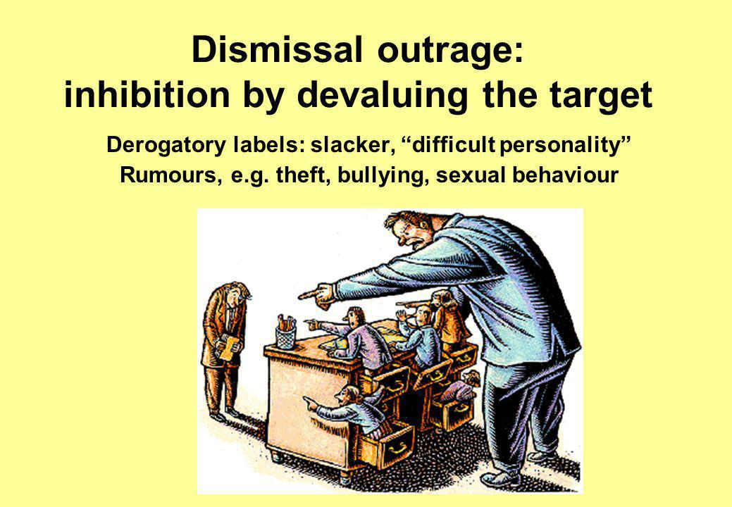 Dismissal outrage: inhibition by devaluing the target Derogatory labels: slacker, difficult personality Rumours, e.g.
