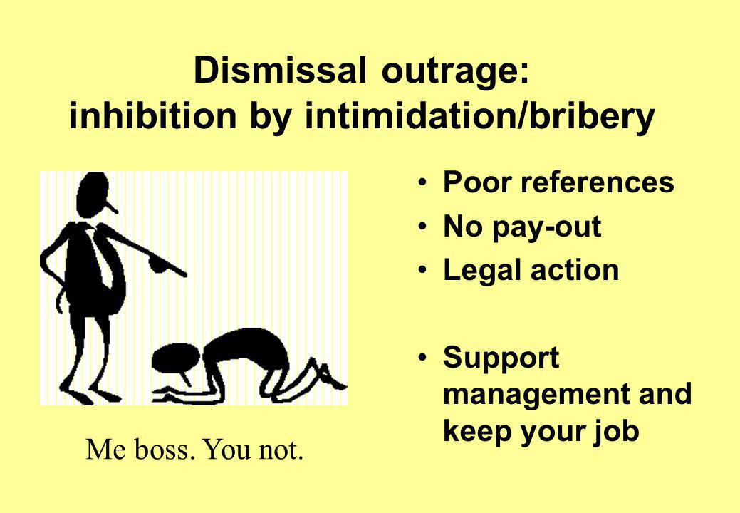 Dismissal outrage: inhibition by intimidation/bribery Poor references No pay-out Legal action Support management and keep your job Me boss.