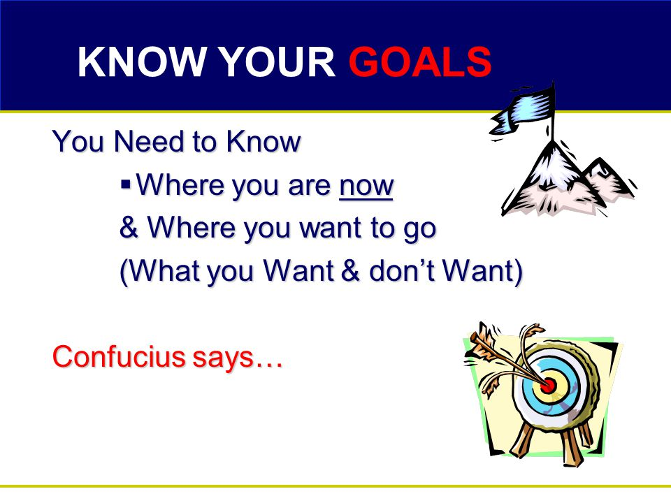 KNOW YOUR GOALS You Need to Know  Where you are now & Where you want to go (What you Want & don't Want) Confucius says…