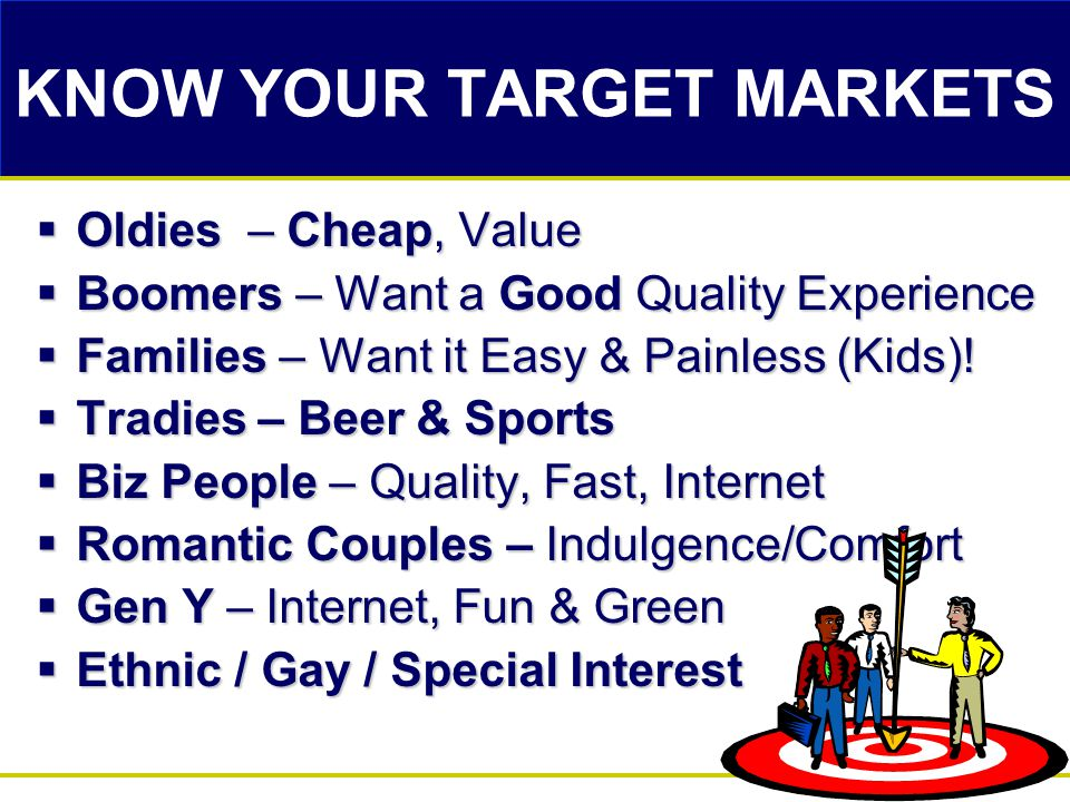 KNOW YOUR TARGET MARKETS  Oldies – Cheap, Value  Boomers – Want a Good Quality Experience  Families – Want it Easy & Painless (Kids)!  Tradies – B