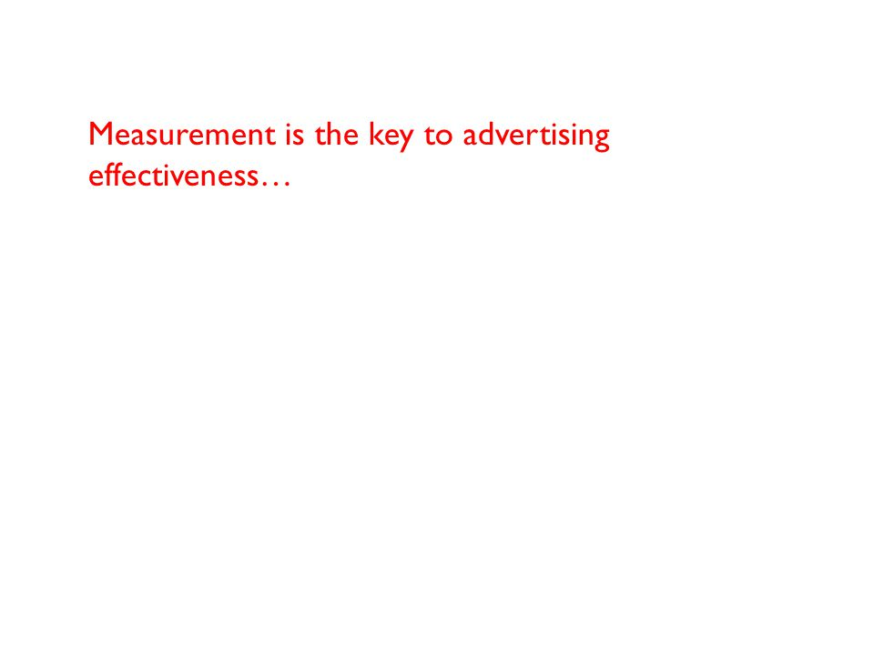 Measurement is the key to advertising effectiveness…