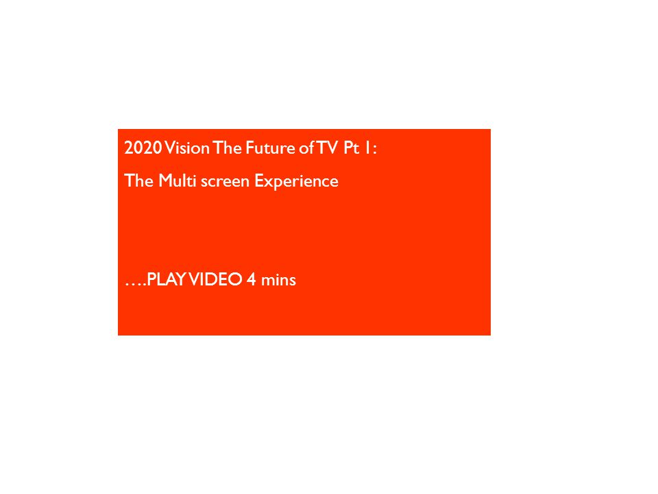 2020 Vision The Future of TV Pt 1: The Multi screen Experience ….PLAY VIDEO 4 mins