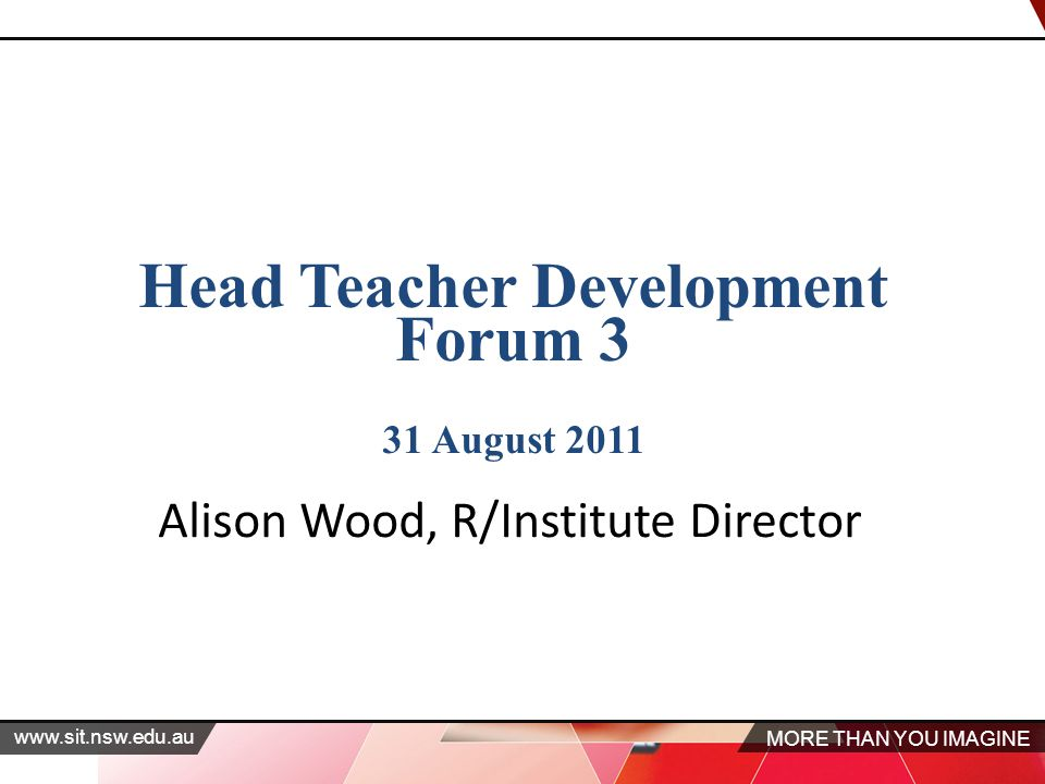 MORE THAN YOU IMAGINE www.sit.nsw.edu.au Head Teacher Development Forum 3 31 August 2011 Alison Wood, R/Institute Director