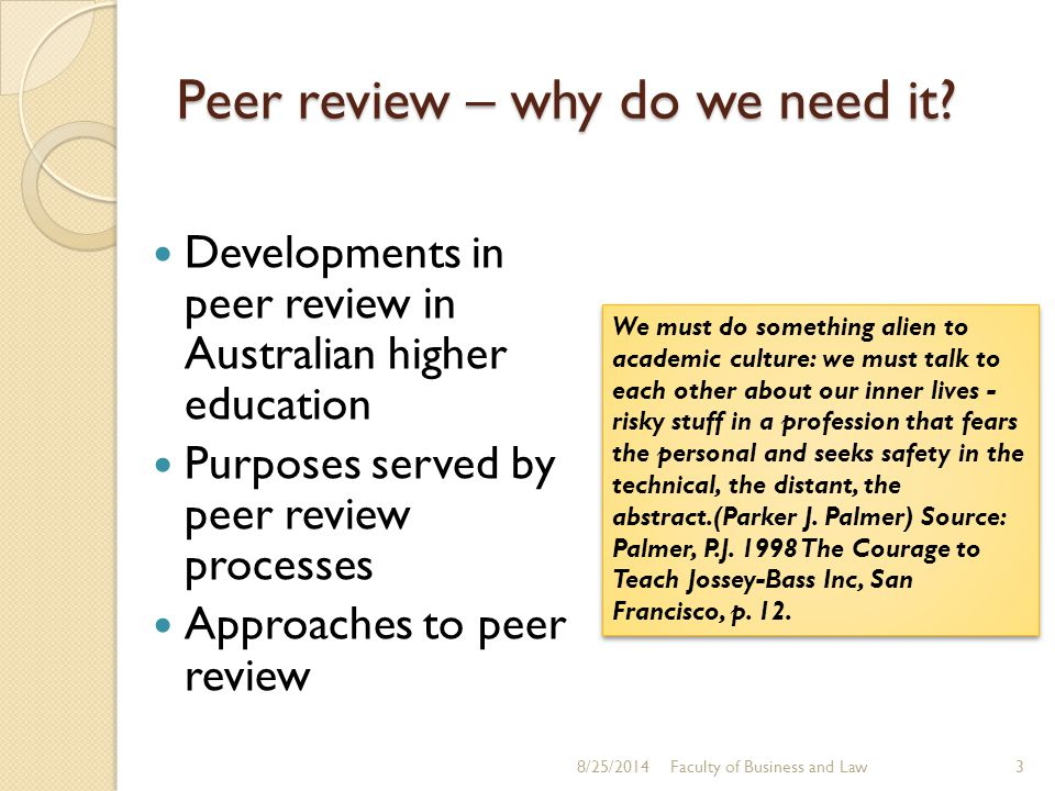 Peer review – why do we need it.