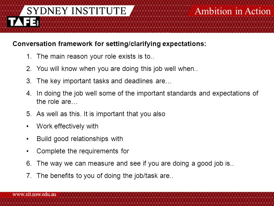 Ambition in Action www.sit.nsw.edu.au Conversation framework for setting/clarifying expectations: 1.The main reason your role exists is to..