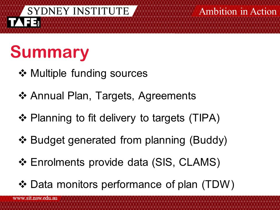 Ambition in Action www.sit.nsw.edu.au Summary  Multiple funding sources  Annual Plan, Targets, Agreements  Planning to fit delivery to targets (TIPA)  Budget generated from planning (Buddy)  Enrolments provide data (SIS, CLAMS)  Data monitors performance of plan (TDW)