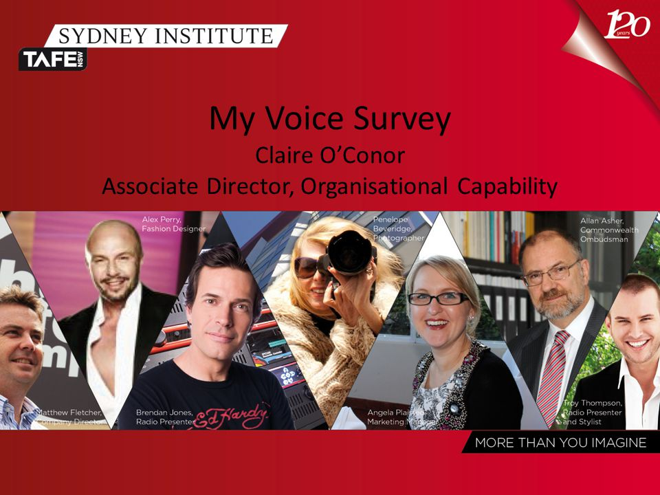 My Voice Survey Claire O'Conor Associate Director, Organisational Capability