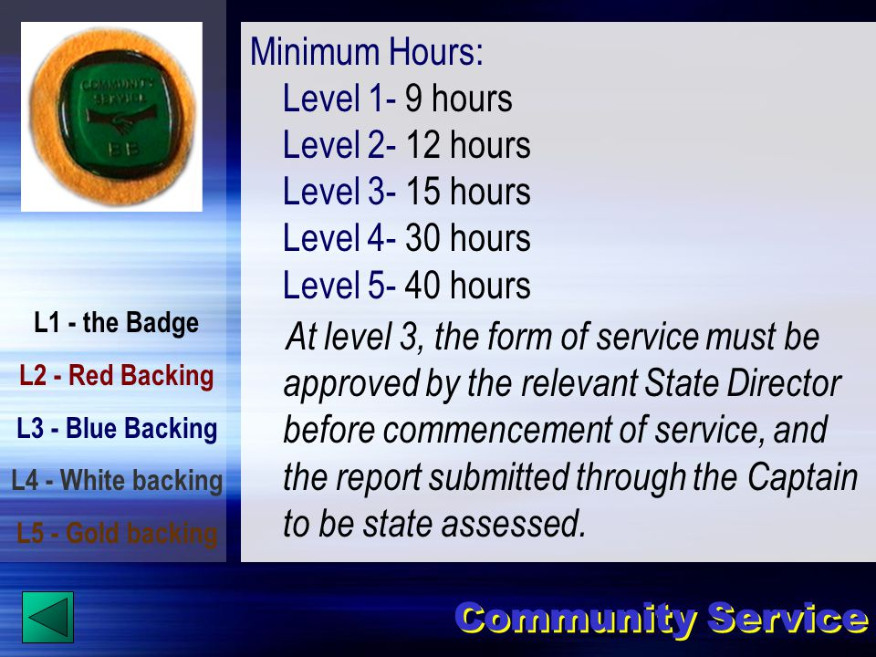 L1 - the Badge L2 - Red Backing L3 - Blue Backing L4 - White backing L5 - Gold backing Community Service Minimum Hours: Level 1- 9 hours Level 2- 12 hours Level 3- 15 hours Level 4- 30 hours Level 5- 40 hours At level 3, the form of service must be approved by the relevant State Director before commencement of service, and the report submitted through the Captain to be state assessed.