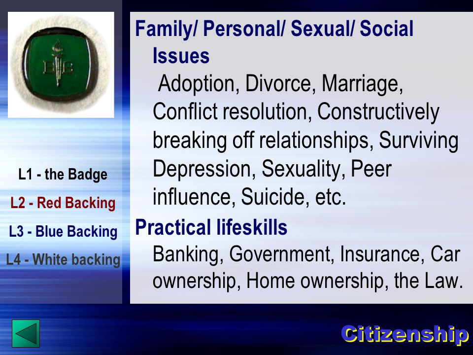 L1 - the Badge L2 - Red Backing L3 - Blue Backing L4 - White backing Family/ Personal/ Sexual/ Social Issues Adoption, Divorce, Marriage, Conflict resolution, Constructively breaking off relationships, Surviving Depression, Sexuality, Peer influence, Suicide, etc.