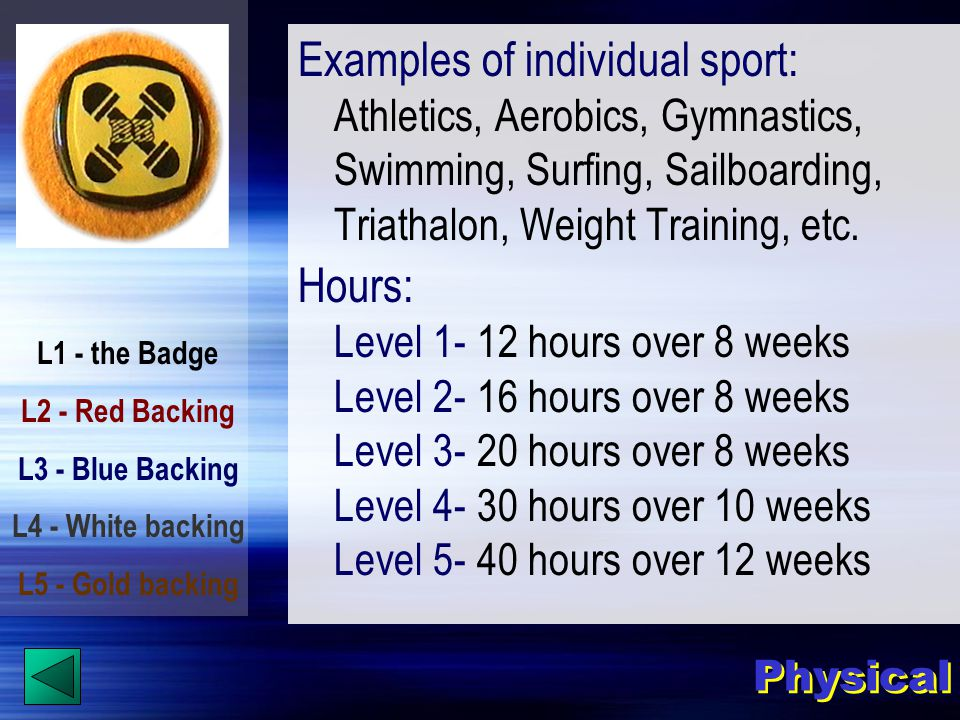 L1 - the Badge L2 - Red Backing L3 - Blue Backing L4 - White backing L5 - Gold backing Physical Examples of individual sport: Athletics, Aerobics, Gymnastics, Swimming, Surfing, Sailboarding, Triathalon, Weight Training, etc.