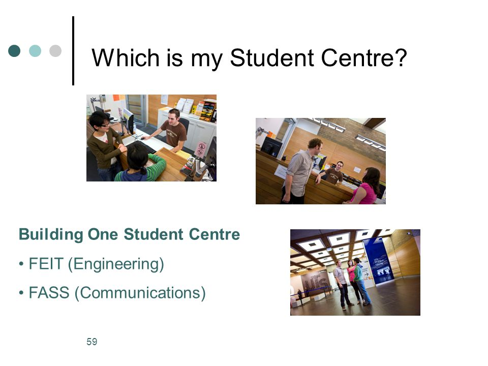 59 Which is my Student Centre? Building One Student Centre FEIT (Engineering) FASS (Communications)