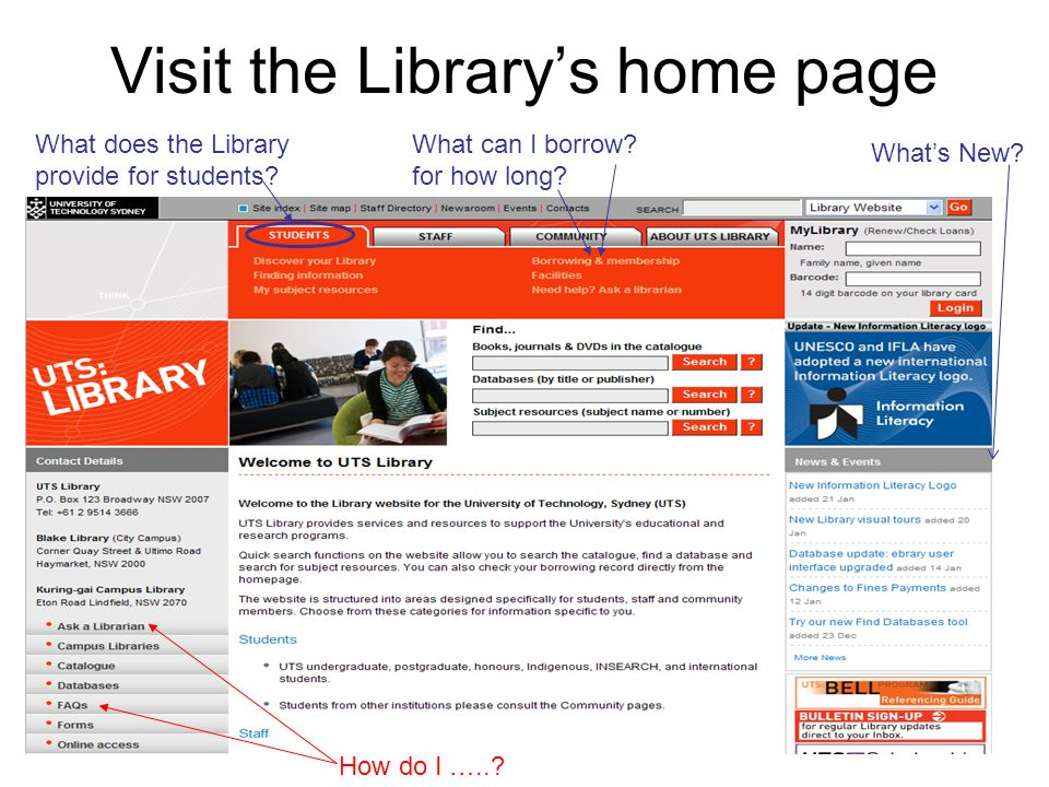 66 Visit the Library's home page What can I borrow.