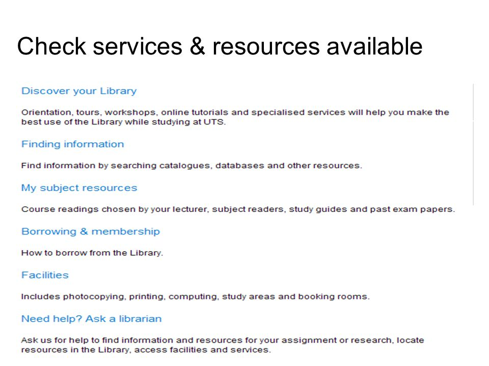 67 Check services & resources available