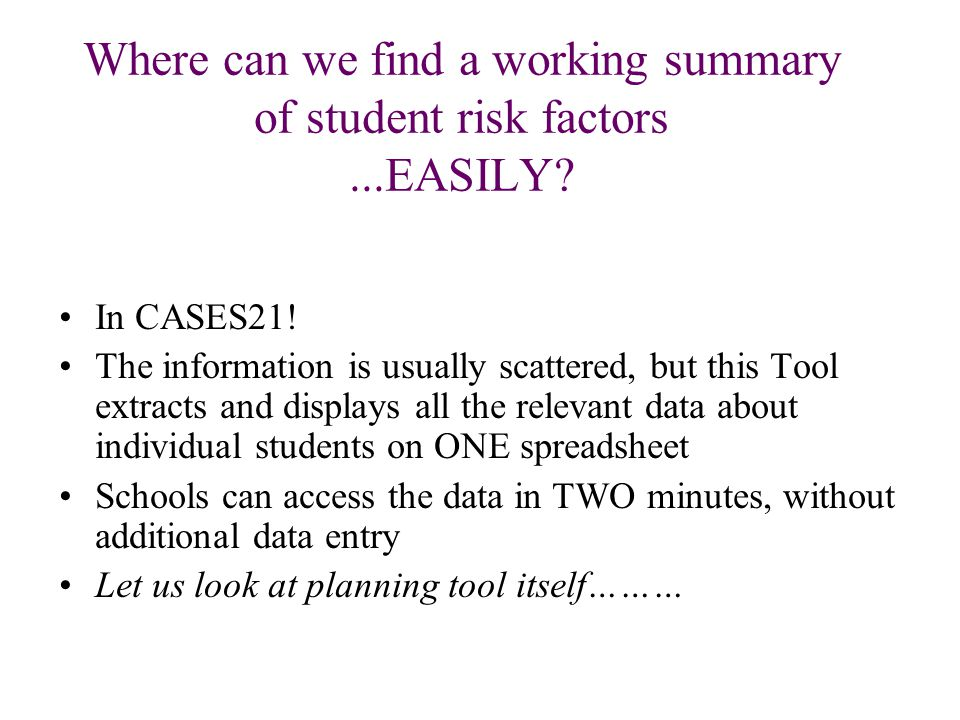 Where can we find a working summary of student risk factors...EASILY.