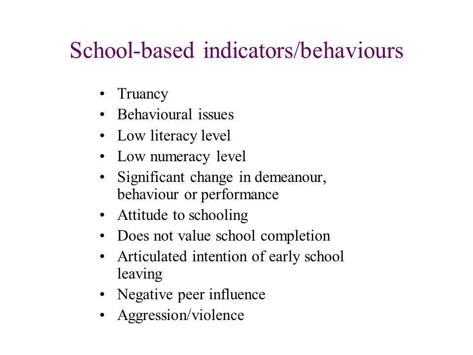 School-based indicators/behaviours Truancy Behavioural issues Low literacy level Low numeracy level Significant change in demeanour, behaviour or performance Attitude to schooling Does not value school completion Articulated intention of early school leaving Negative peer influence Aggression/violence