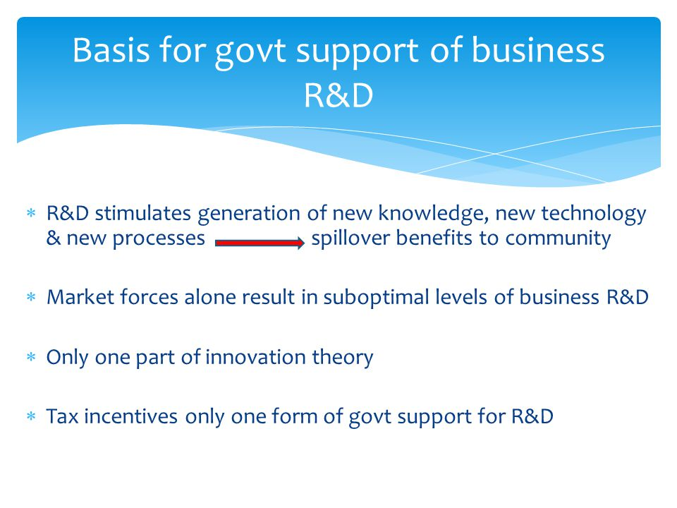  R&D stimulates generation of new knowledge, new technology & new processes spillover benefits to community  Market forces alone result in suboptimal levels of business R&D  Only one part of innovation theory  Tax incentives only one form of govt support for R&D Basis for govt support of business R&D