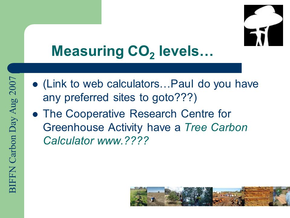 BIFFN Carbon Day Aug 2007 Measuring CO 2 levels… (Link to web calculators…Paul do you have any preferred sites to goto ) The Cooperative Research Centre for Greenhouse Activity have a Tree Carbon Calculator www.