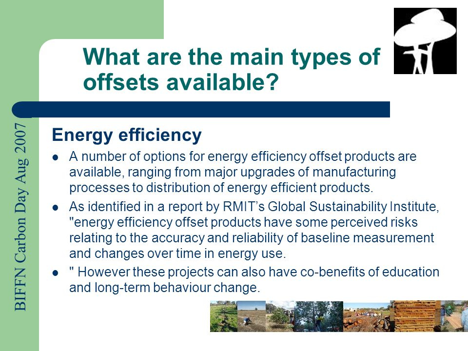 BIFFN Carbon Day Aug 2007 What are the main types of offsets available.