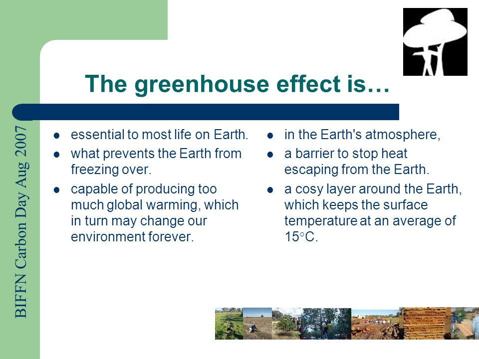 BIFFN Carbon Day Aug 2007 The greenhouse effect is… essential to most life on Earth.