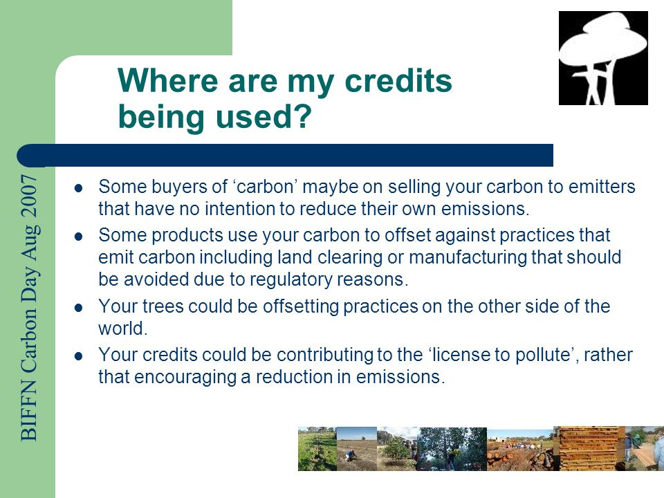 BIFFN Carbon Day Aug 2007 Where are my credits being used.