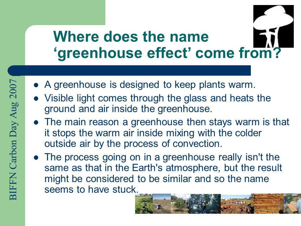 BIFFN Carbon Day Aug 2007 Where does the name 'greenhouse effect' come from.