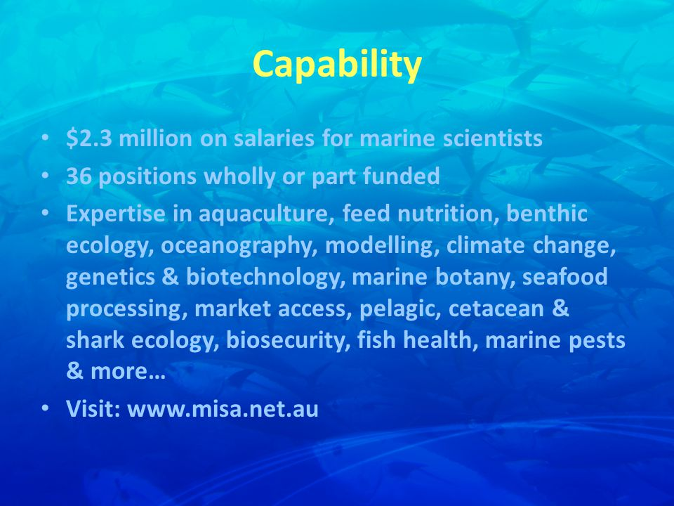 Capability $2.3 million on salaries for marine scientists 36 positions wholly or part funded Expertise in aquaculture, feed nutrition, benthic ecology, oceanography, modelling, climate change, genetics & biotechnology, marine botany, seafood processing, market access, pelagic, cetacean & shark ecology, biosecurity, fish health, marine pests & more… Visit: